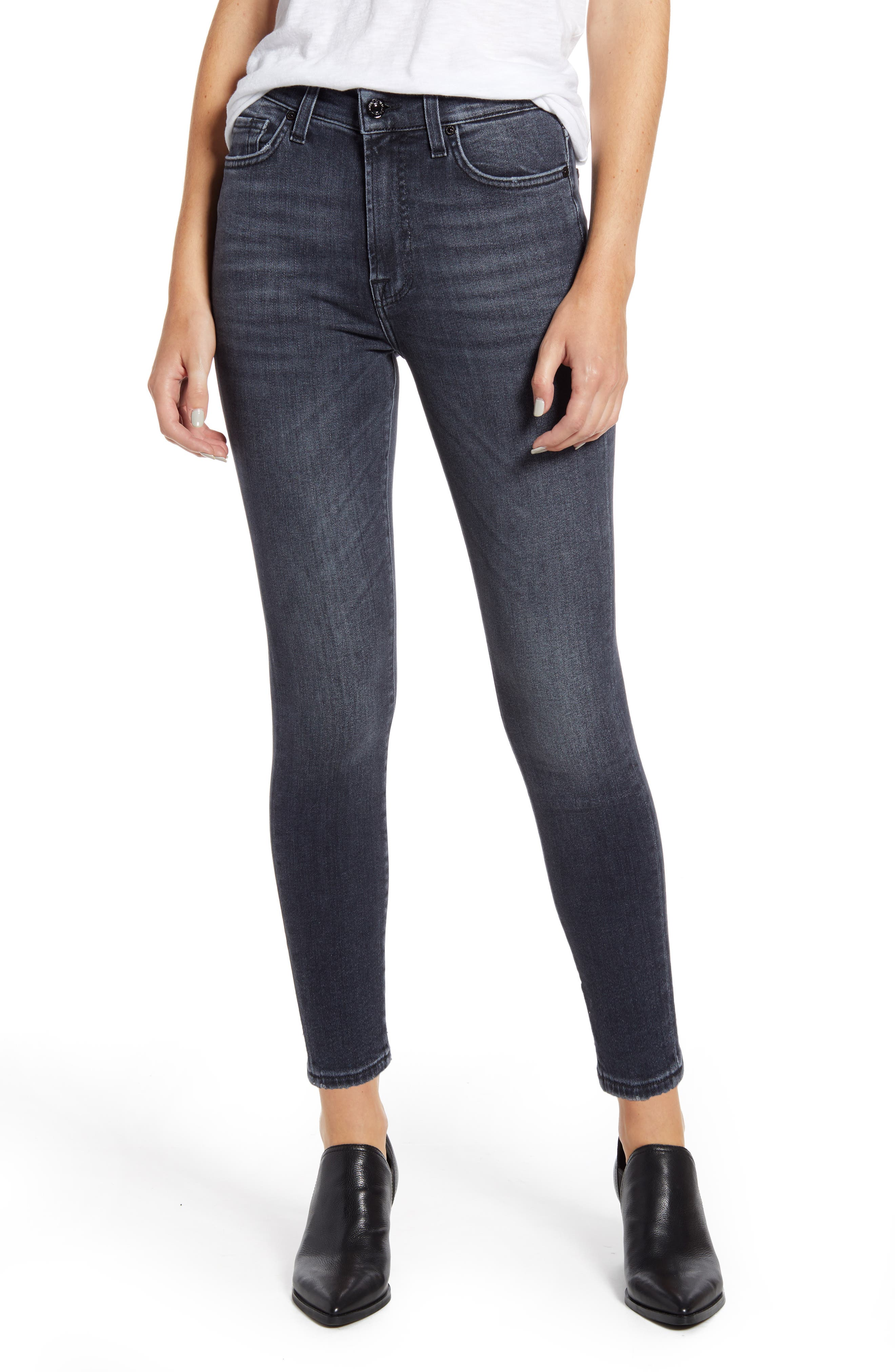 7 For All MankindR Women's 7 For All Mankind High Waist Ankle Skinny Jeans,  26 - Grey