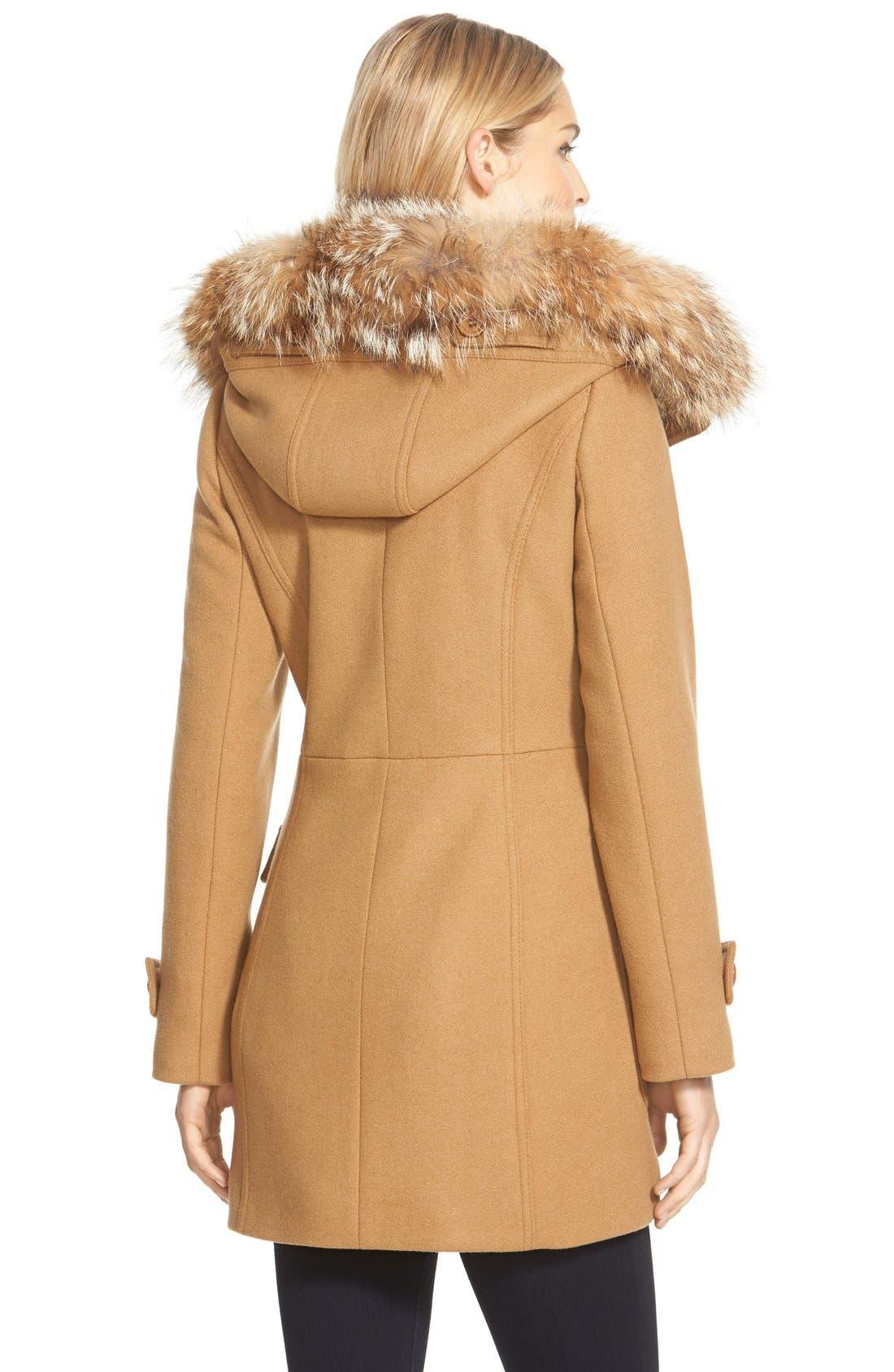,                             Genuine Coyote Fur Trim Wool Blend Duffle Coat,                             Main thumbnail 7, color,                             262