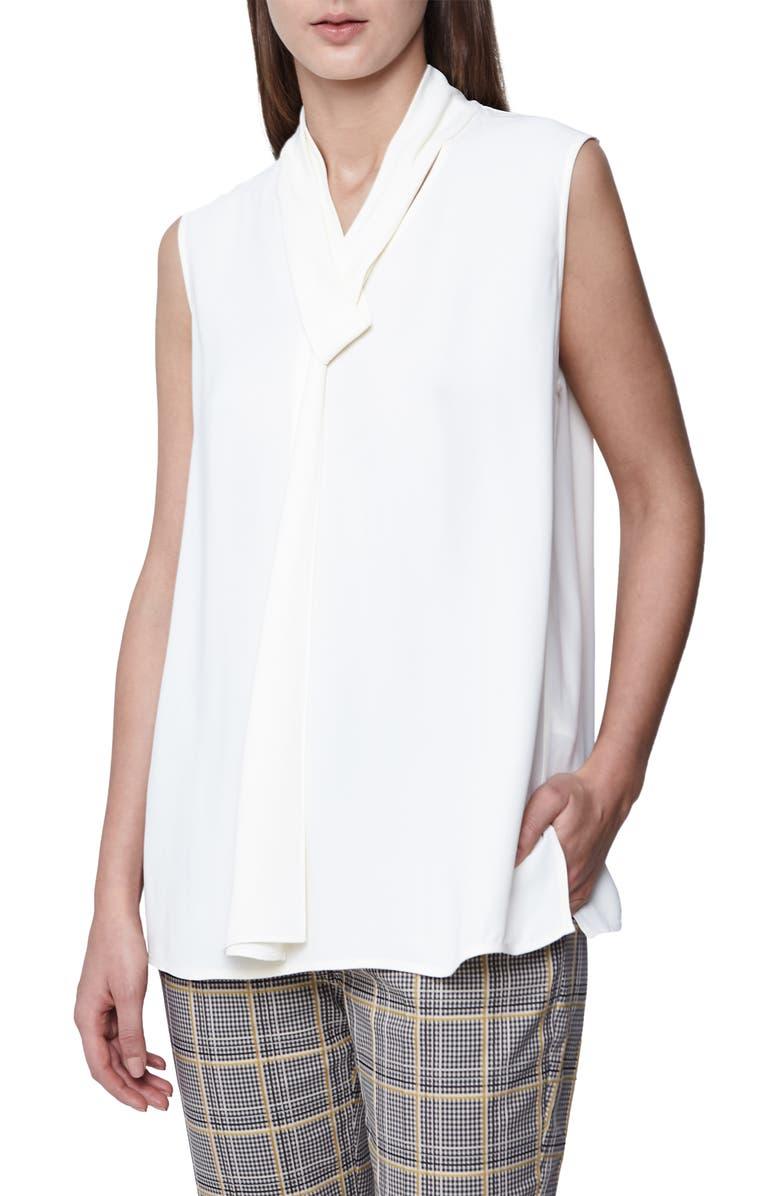REISS Lula Tie Neck Sleeveless Blouse, Main, color, 900