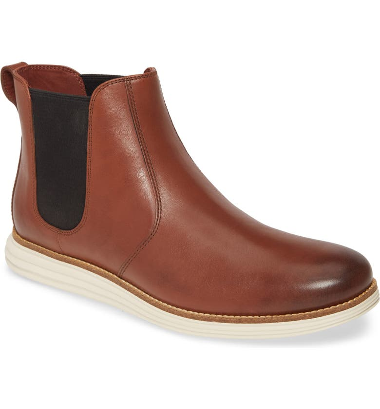 COLE HAAN Original Grand Waterproof Chelsea Boot, Main, color, WOODBURY/ IVORY LEATHER