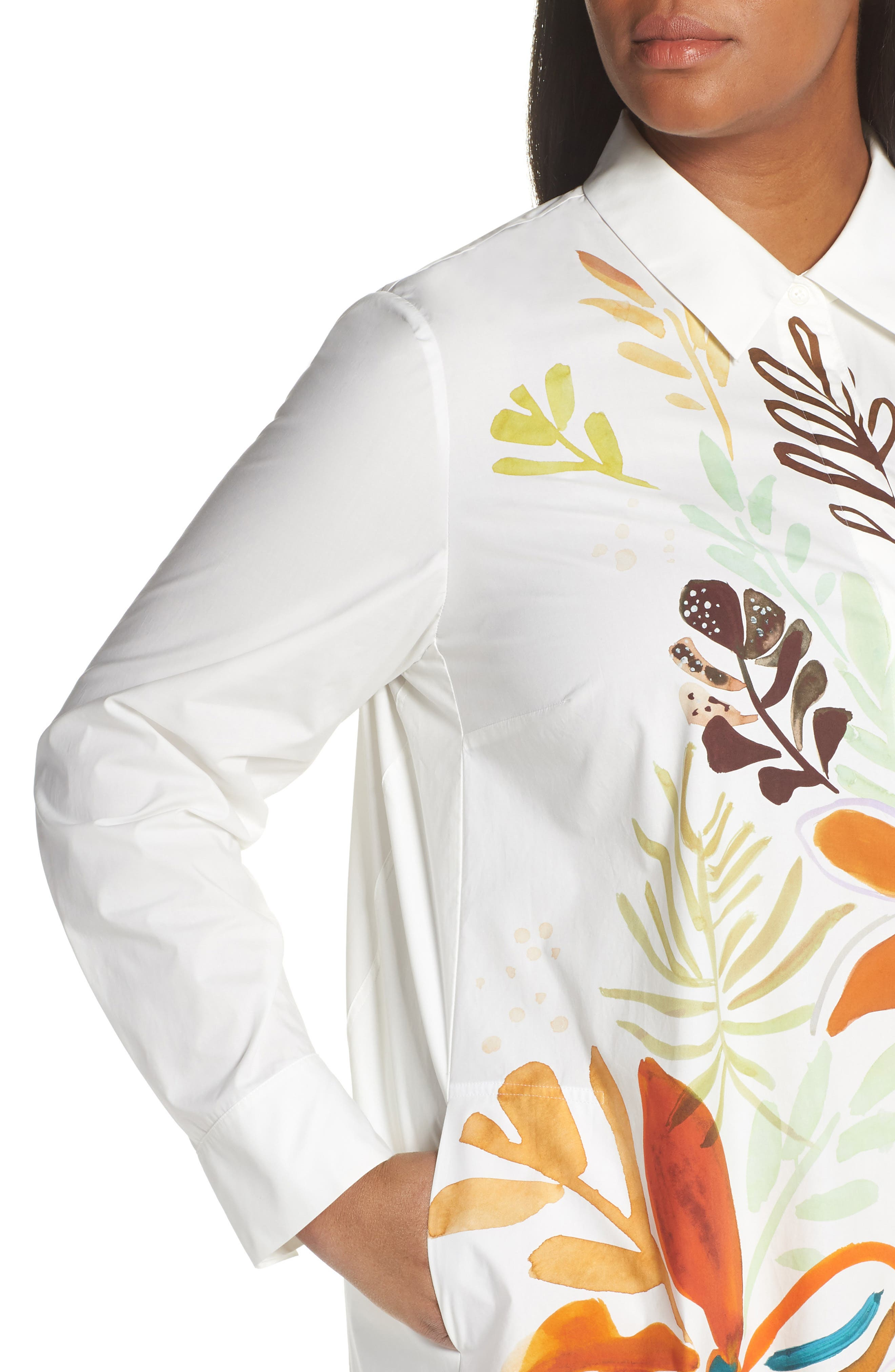 ,                             Porto A-Line Shirtdress,                             Alternate thumbnail 4, color,                             WHITE MULTI