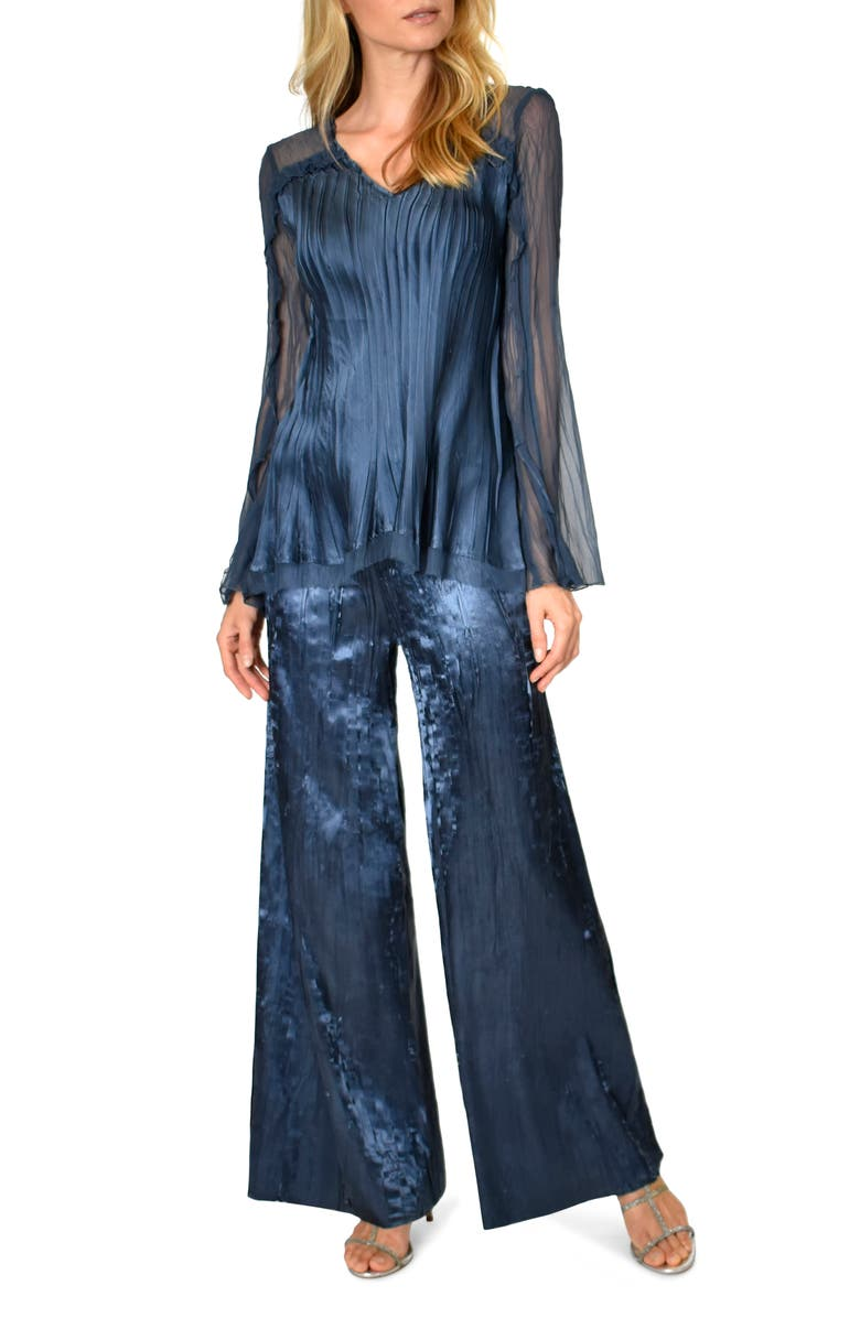 KOMAROV Two-Piece Charmeuse & Chiffon Tiered Long Sleeve Tunic & Pants Set, Main, color, ECLIPSE