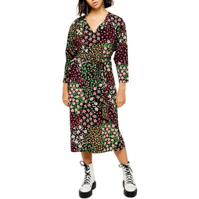 Petite Topshop Long Sleeve Belted Floral Midi Dress, P US (fits like 0P) - Black