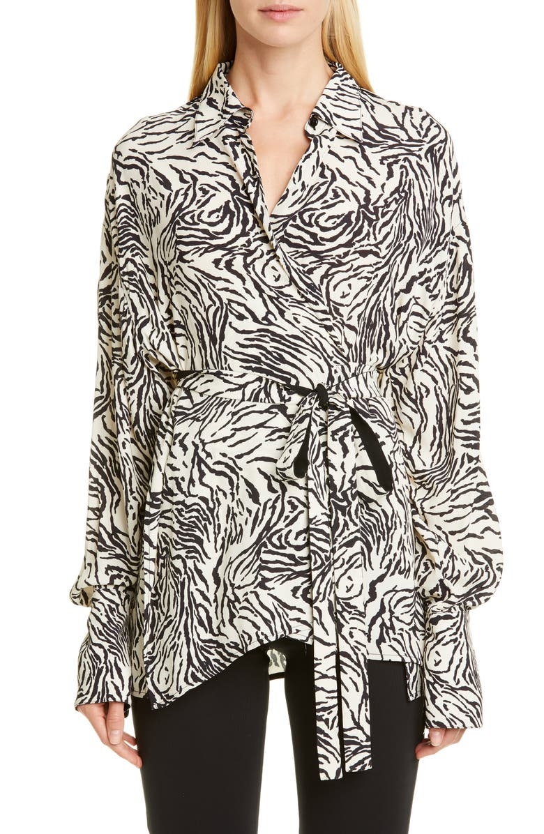 PROENZA SCHOULER Animal Print Crêpe de Chine Wrap Blouse, Main, color, VANILLA/ BLACK ANIMAL