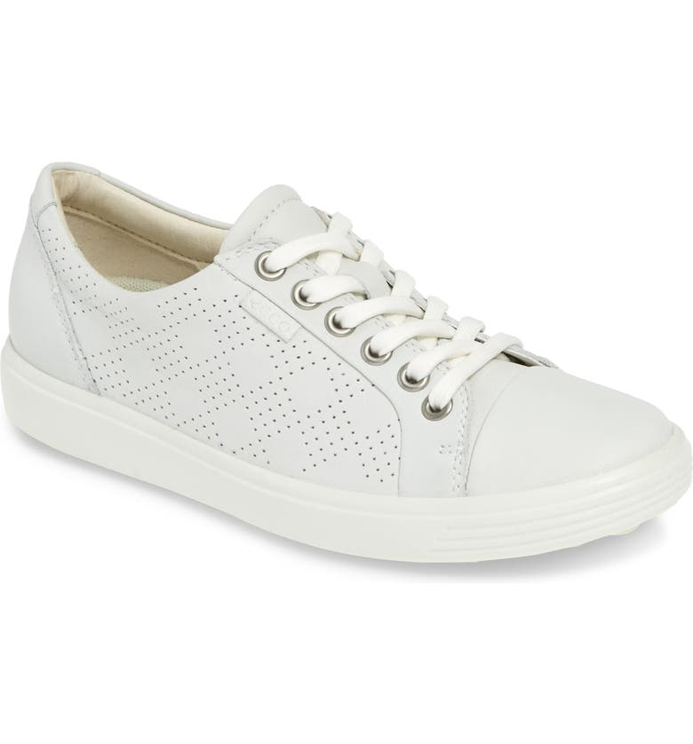 ECCO Soft 7 Sneaker, Main, color, WHITE LEATHER