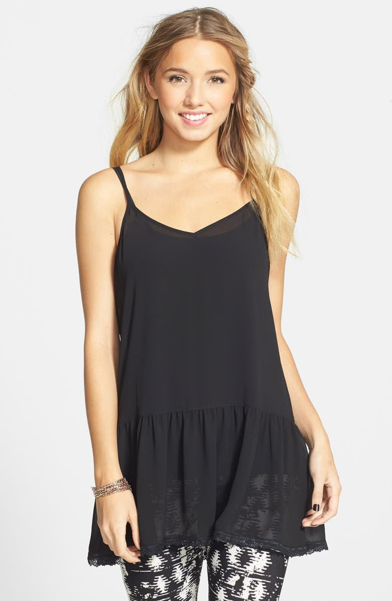 FRENCHI <sup>®</sup> Lace Hem Camisole, Main, color, 001