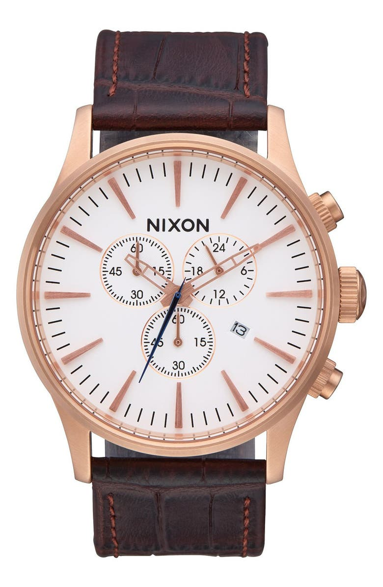 NIXON The Sentry Chronograph Leather Strap Watch, 42mm, Main, color, ROSE GOLD / BROWN GATOR