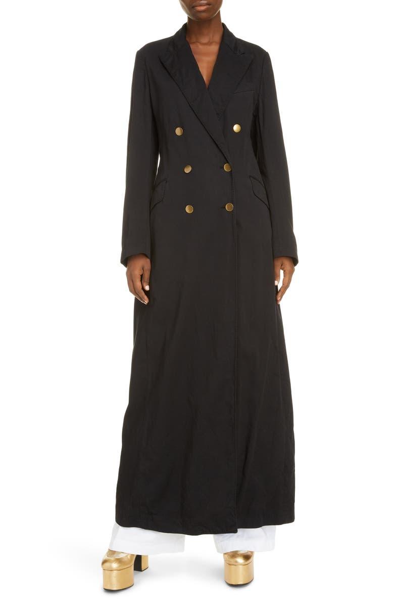 DRIES VAN NOTEN Ride Double Breasted Cotton Coat, Main, color, 001