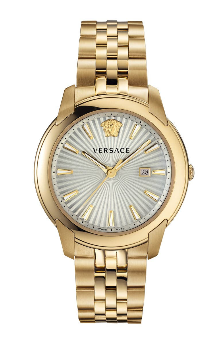 VERSACE Urban Bracelet Watch, 42mm, Main, color, GOLD/ WHITE SUNRAY/ GOLD