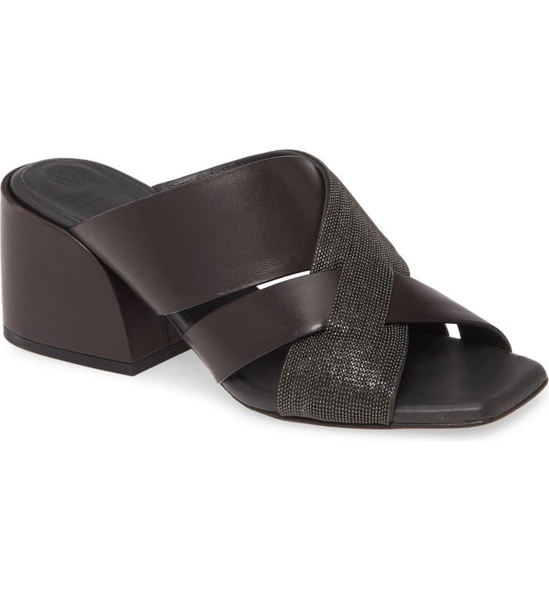 BRUNELLO CUCINELLI Asymmetric Cross Strap Slide Sandal, Main, color, 206