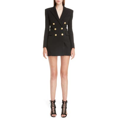 Balmain Double Breasted Wool Blend Blazer Dress, 8 FR - Black