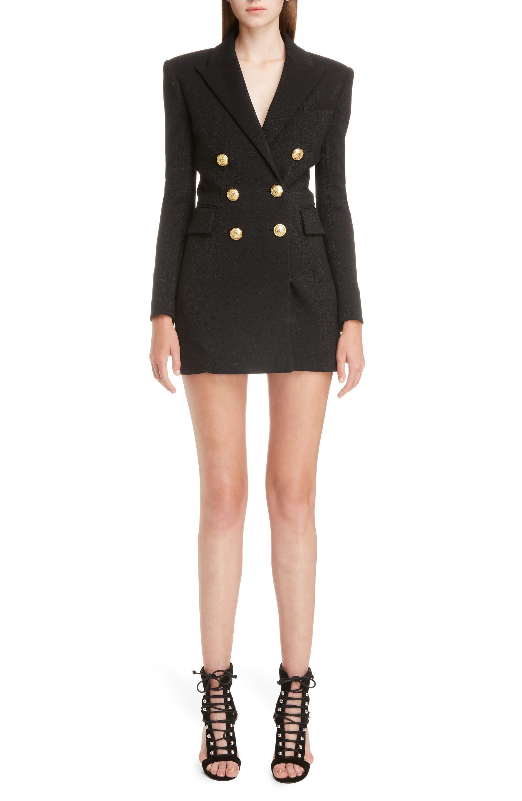 80d4bb50 Balmain Double Breasted Wool Blend Blazer Dress | Nordstrom