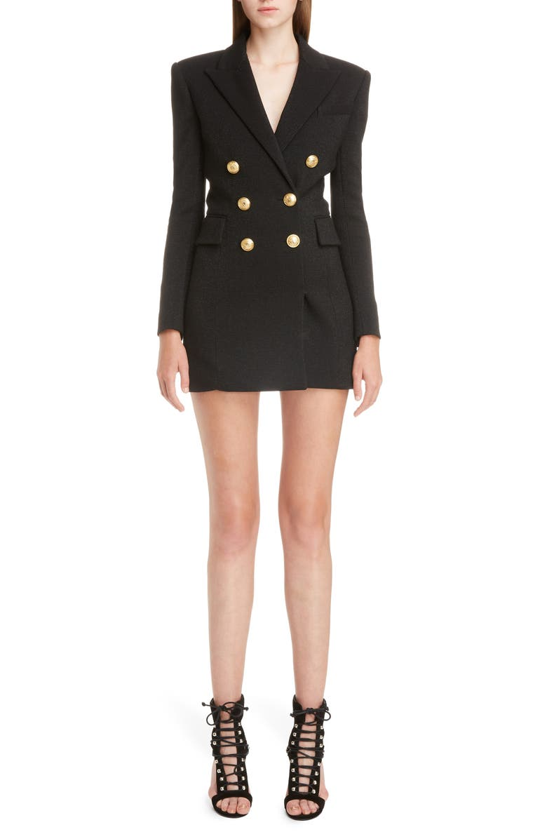BALMAIN Double Breasted Wool Blend Blazer Dress, Main, color, NOIR