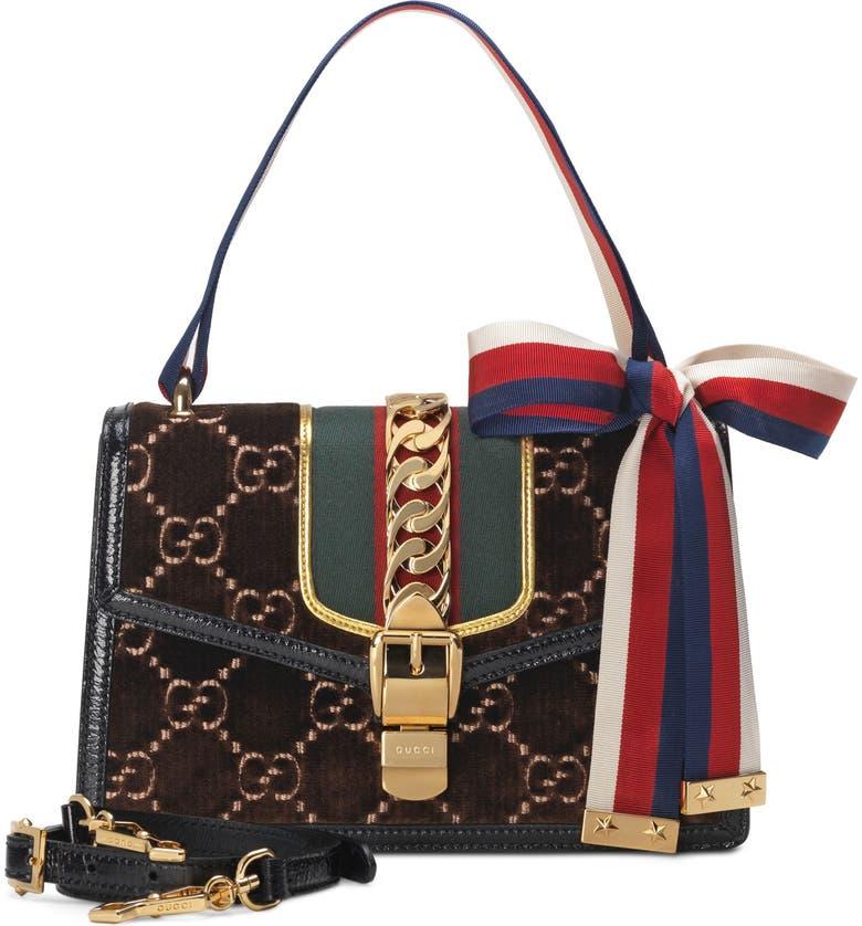 GUCCI Small Sylvie Velvet Shoulder Bag, Main, color, BROWN/ NERO/ VERT RED