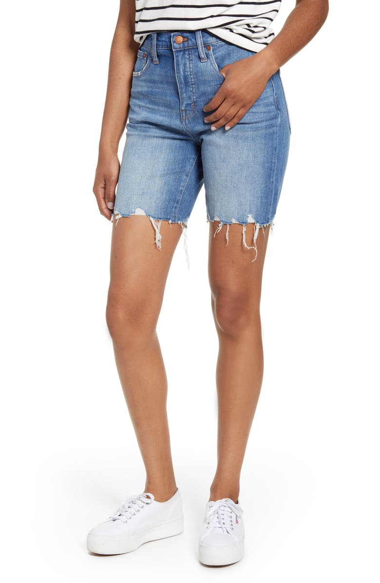 MADEWELL High Waist Mid Length Denim Shorts, Main, color, ERWIM