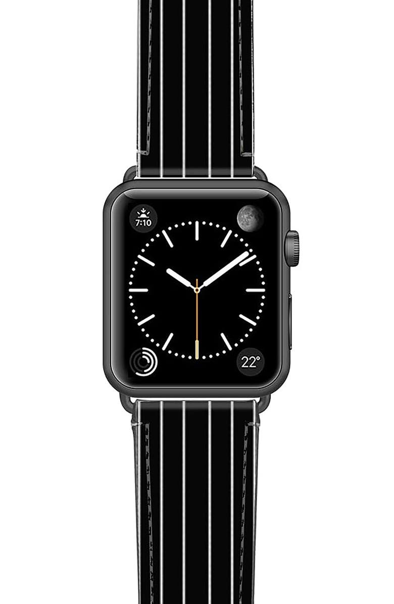 CASETIFY Black Stripe Saffiano Faux Leather Apple Watch<sup>®</sup> Strap, Main, color, BLACK/ SPACE GREY