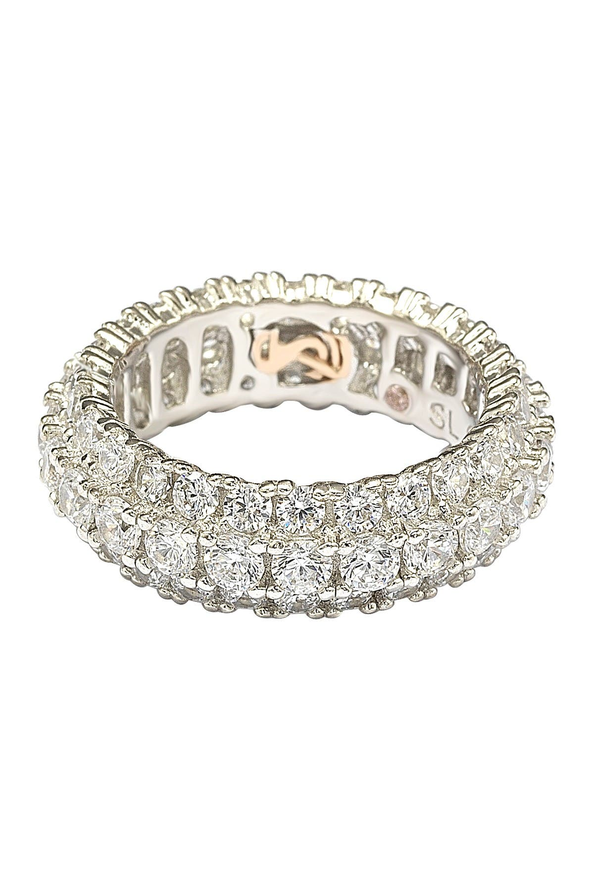 Image of Suzy Levian Sterling Silver White CZ 3 Row Eternity Band