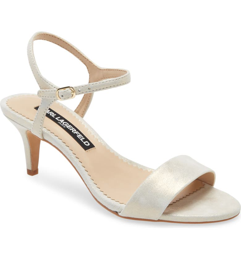 KARL LAGERFELD PARIS Demas Sandal, Main, color, LIGHT GOLD SUEDE