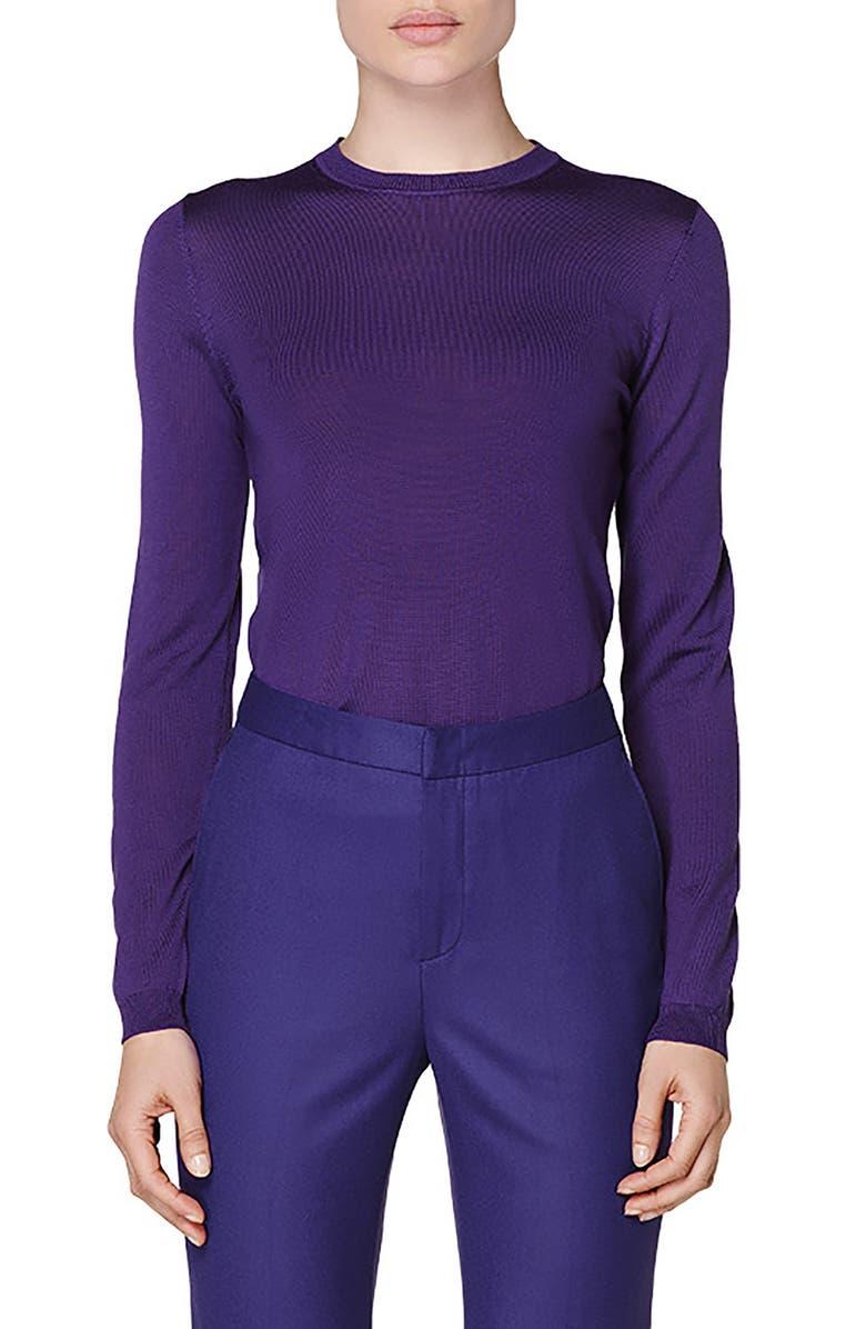 SUISTUDIO Merino Wool Sweater, Main, color, PURPLE