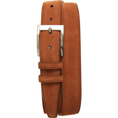 Torino Calfskin Suede Belt, Walnut
