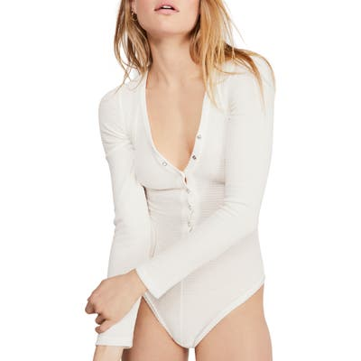 Free People Keep Your Cool Thermal Knit Bodysuit, White