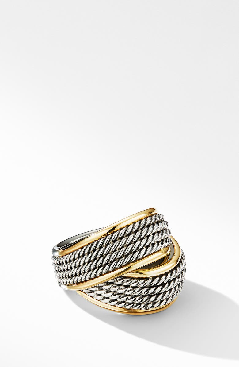 DAVID YURMAN Origami Crossover Ring with 18K Yellow Gold, Main, color, SILVER/ YELLOW GOLD