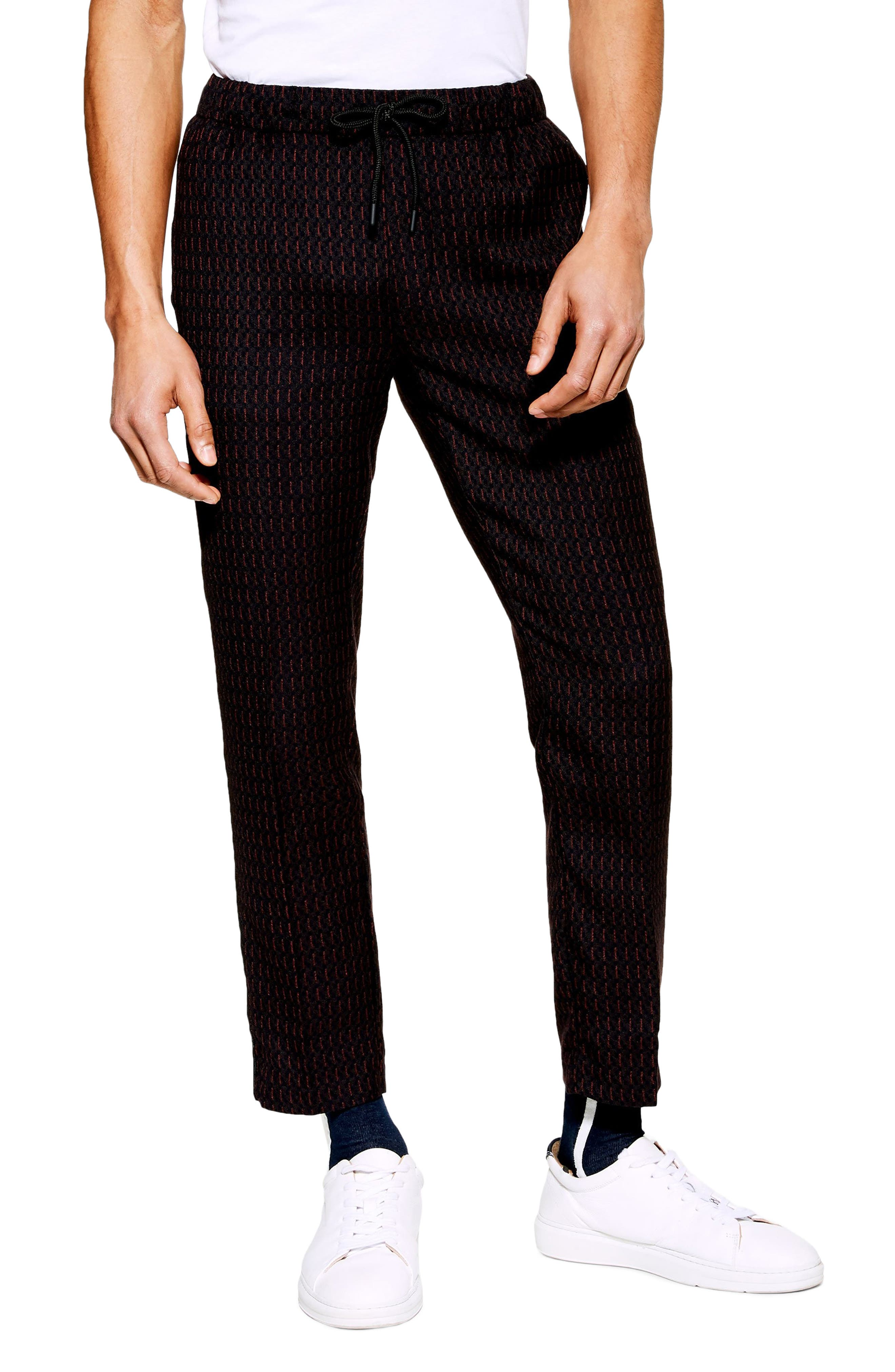 Pinstripe Crop Trousers, Main, color, NAVY BLUE