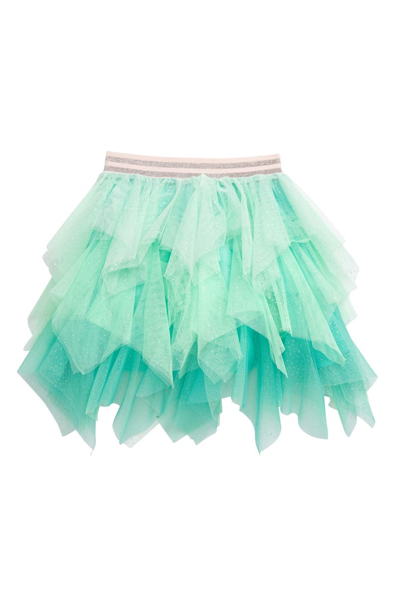 TRULY ME Ombré Tulle Skirt, Main, color, GREEN MULTI