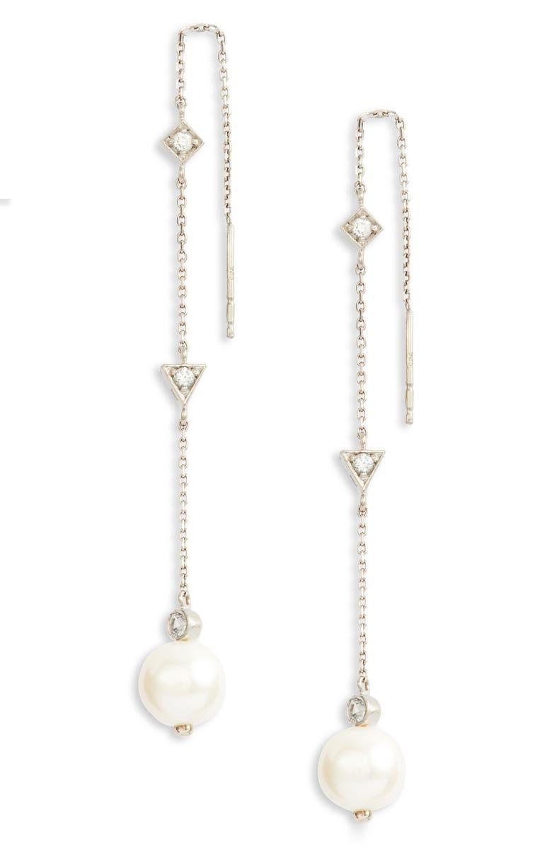 ANZIE Cléo Pearl Chain Threader Earrings, Main, color, SILVER