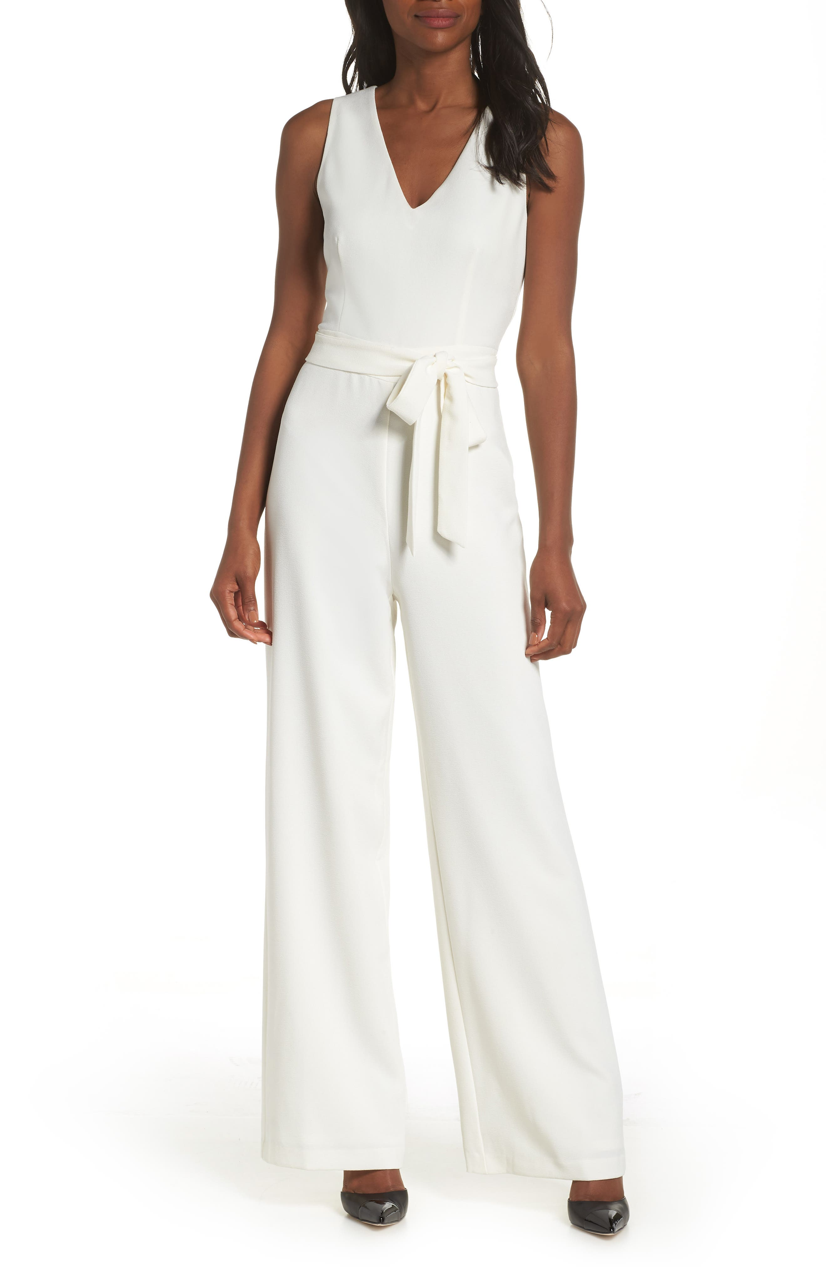 70s Jumpsuit | Disco Jumpsuits – Sequin, Striped, Gold, White, Black Womens Vince Camuto Tie Front Wide Leg Jumpsuit Size 4 - White $99.00 AT vintagedancer.com