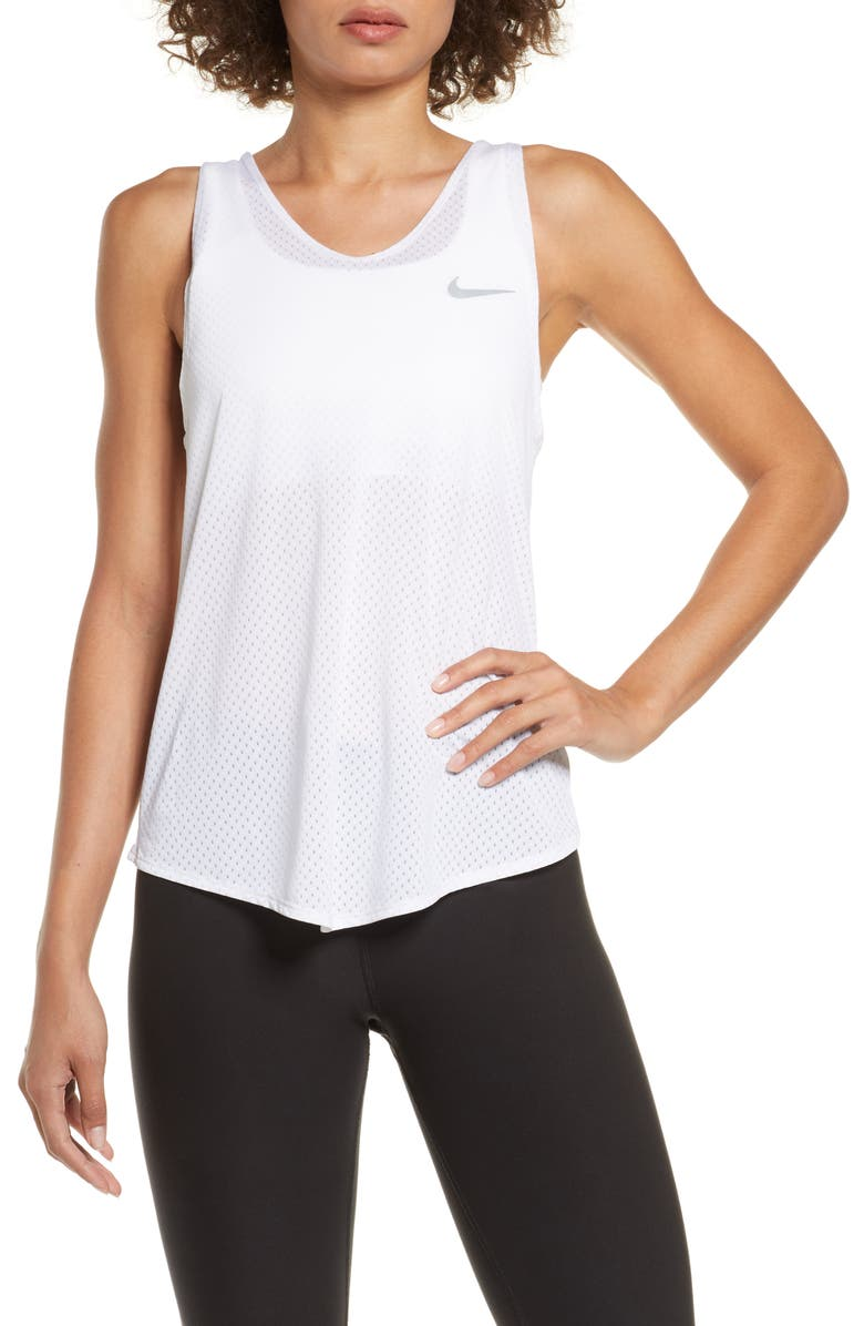 NIKE Breathe Dri-FIT Running Tank, Main, color, WHITE/REFSIL