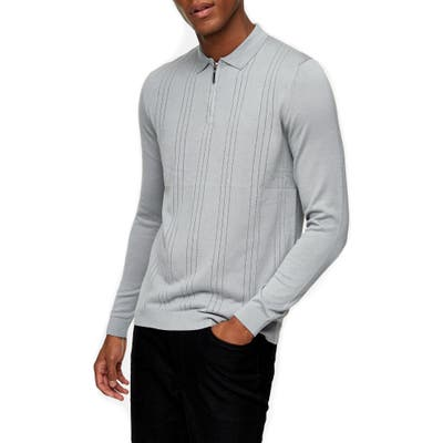 Topman Pointelle Long Sleeve Zip Polo, Grey