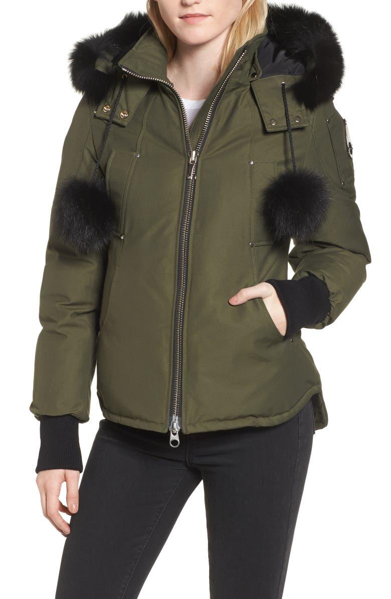MOOSE KNUCKLES Genuine Fox Fur Trim Hooded Down Jacket, Main, color, 300