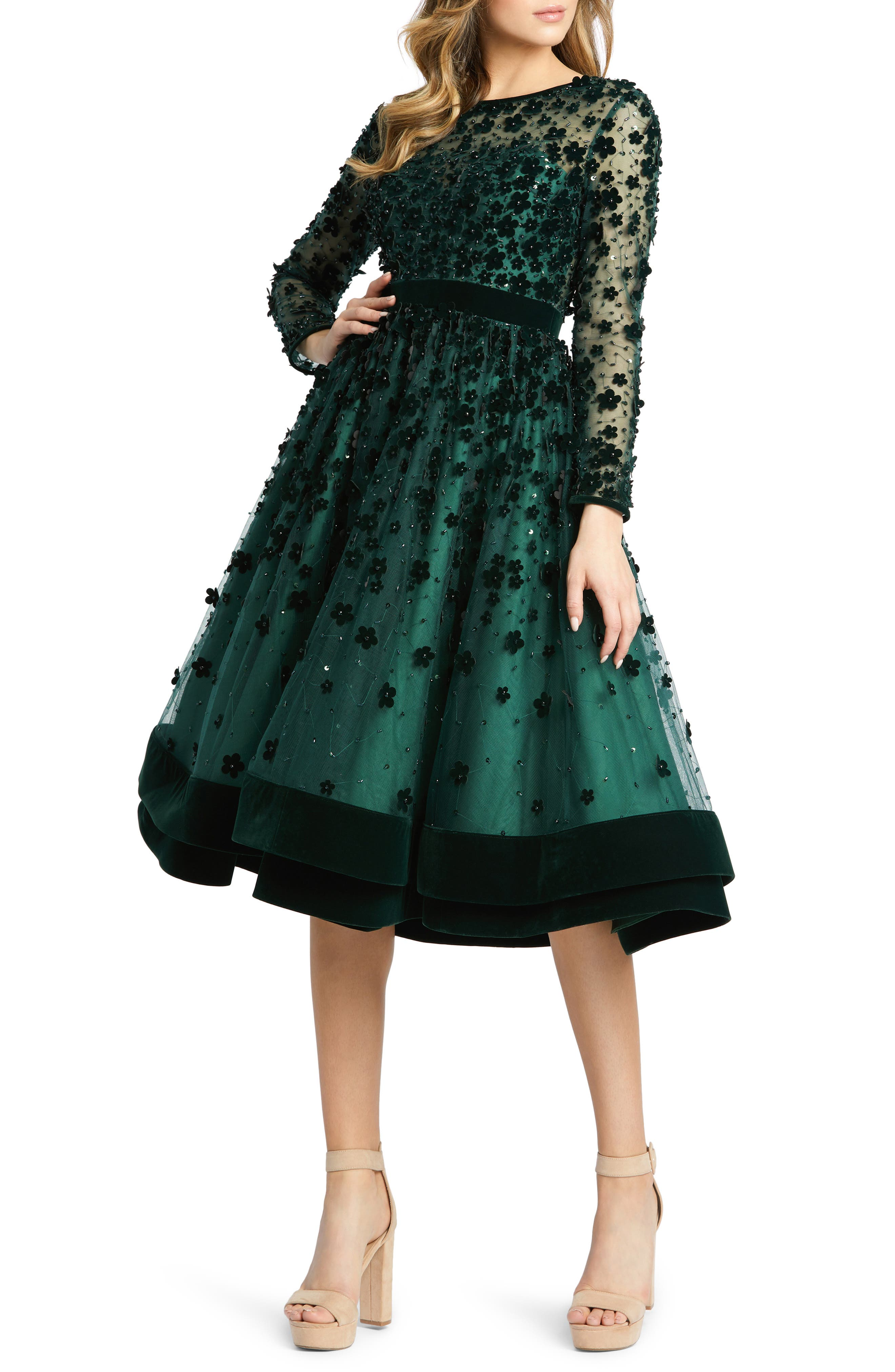 1950s History of Prom, Party, and Formal Dresses Womens MAC Duggal Long Sleeve Fit  Flare Velvet Embellished Cocktail Dress Size 12 - Green $498.00 AT vintagedancer.com