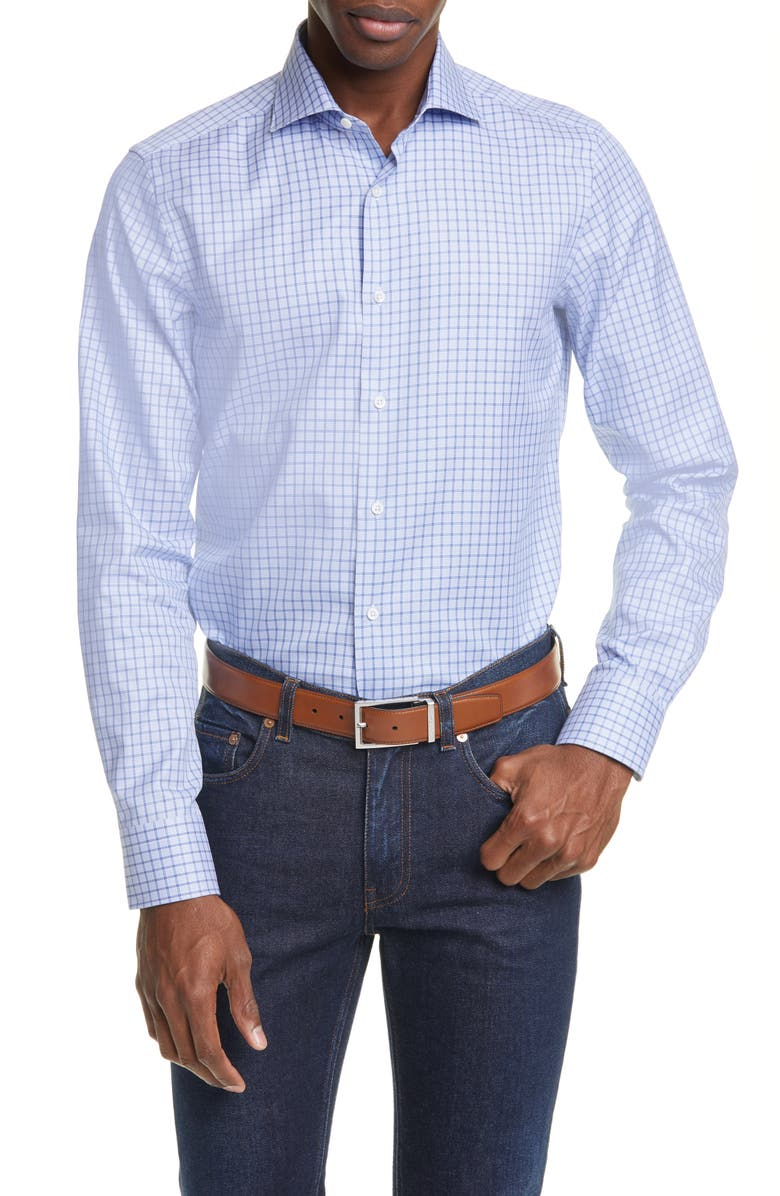 CANALI Regular Fit Plaid Dress Shirt, Main, color, BLUE