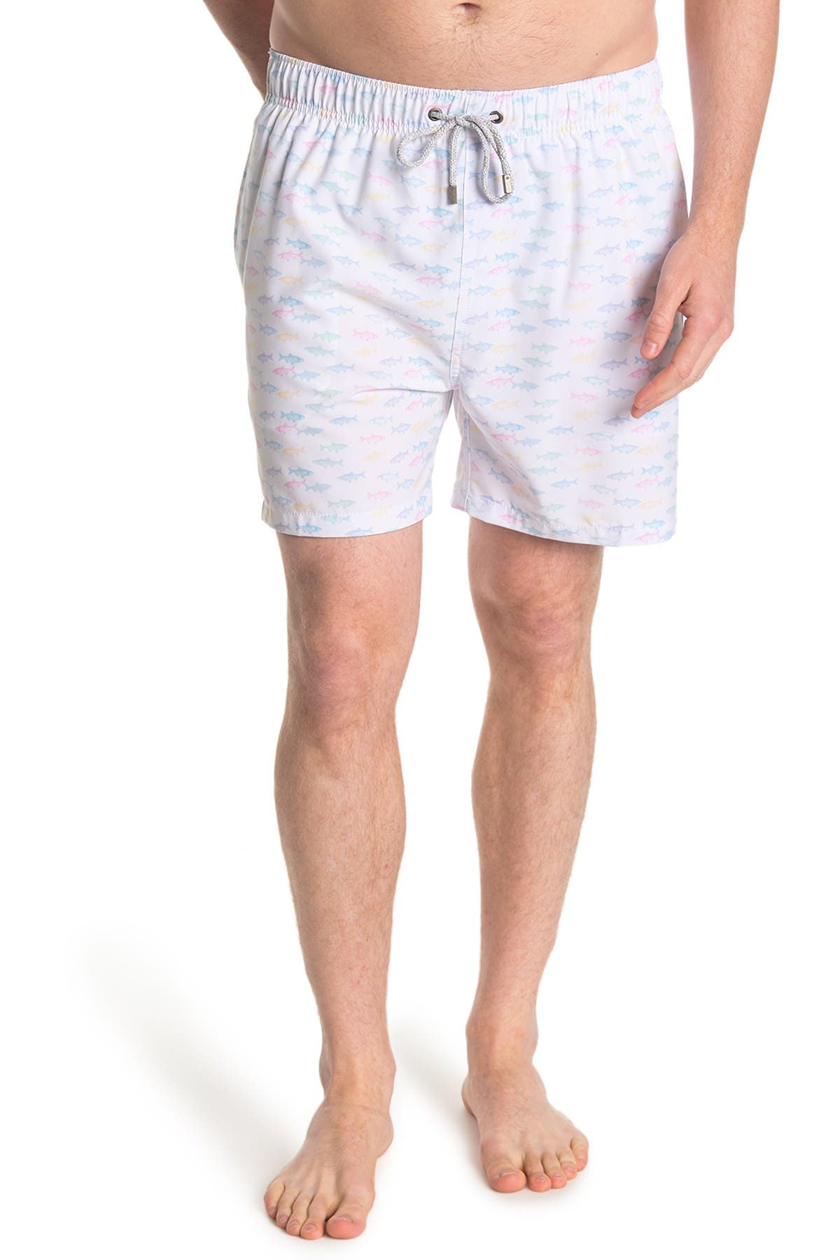 Image of Vintage Summer Fish Print Swimming Trunks