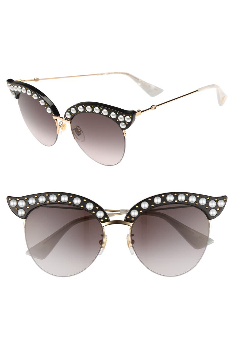 GUCCI 53mm Embellished Cat Eye Sunglasses, Main, color, 001