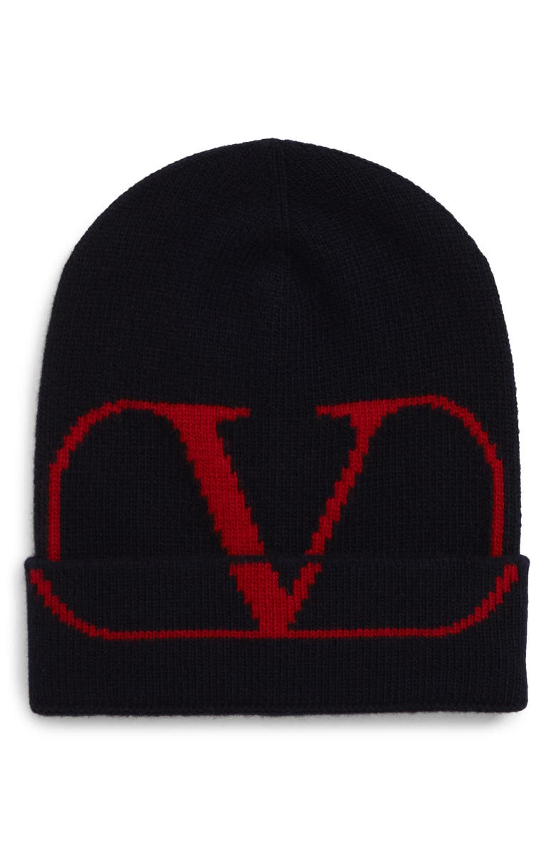 VALENTINO V-Logo Wool & Cashmere Knit Cap, Main, color, NAVY/ RED