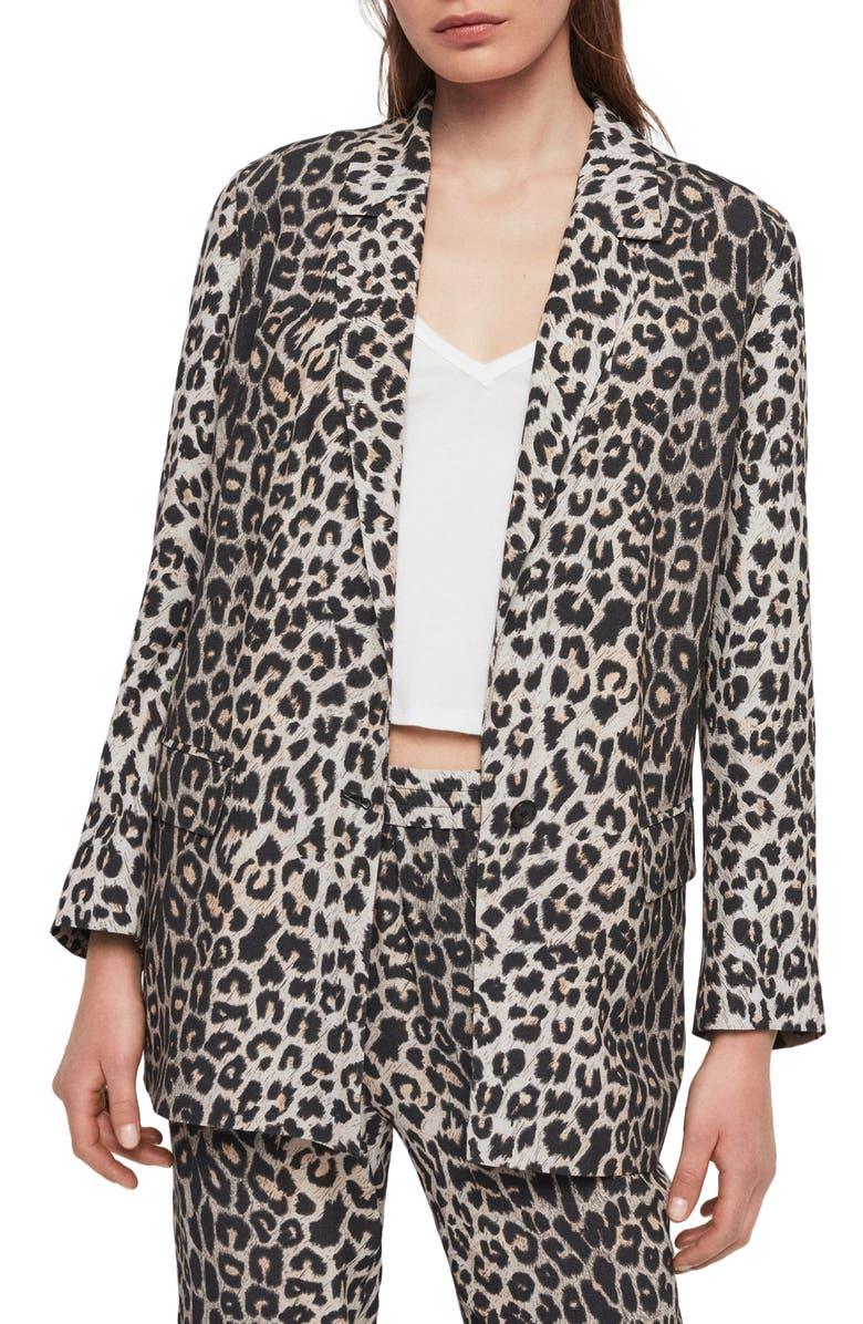 ALLSAINTS Neve Leopard Print Blazer, Main, color, 200