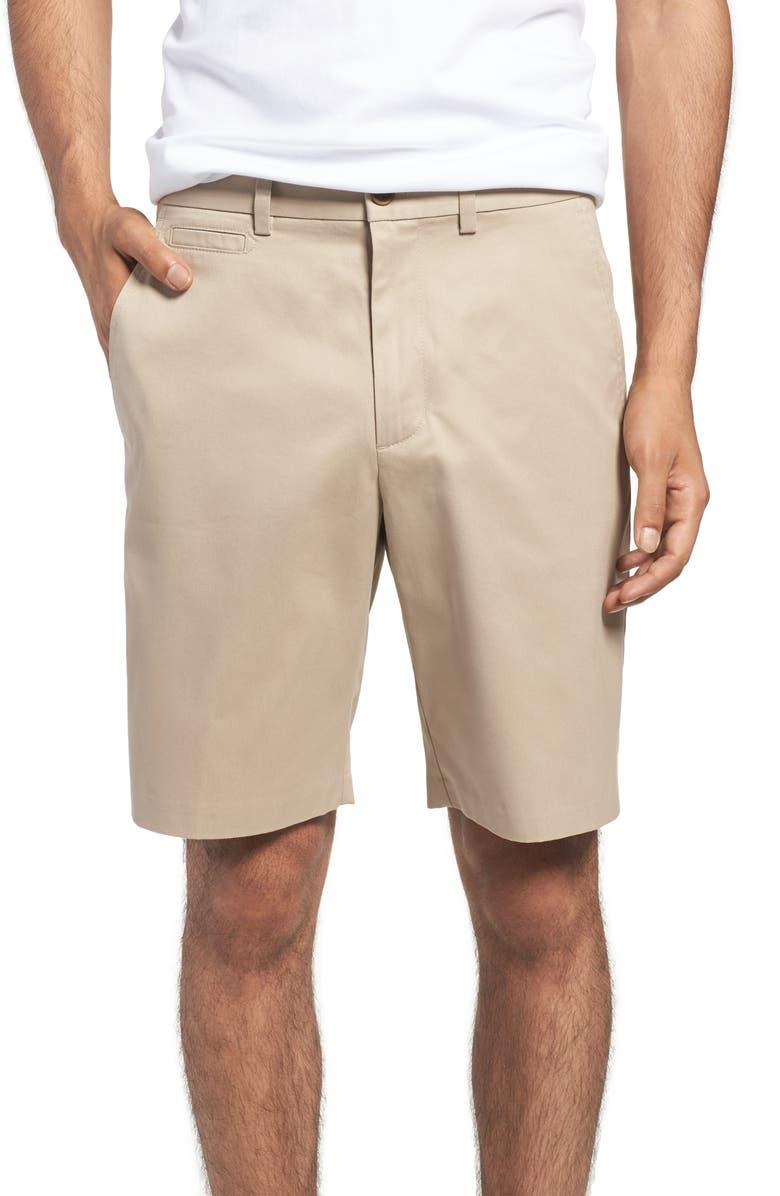 NORDSTROM MEN'S SHOP Smartcare<sup>™</sup> Flat Front Shorts, Main, color, TAN