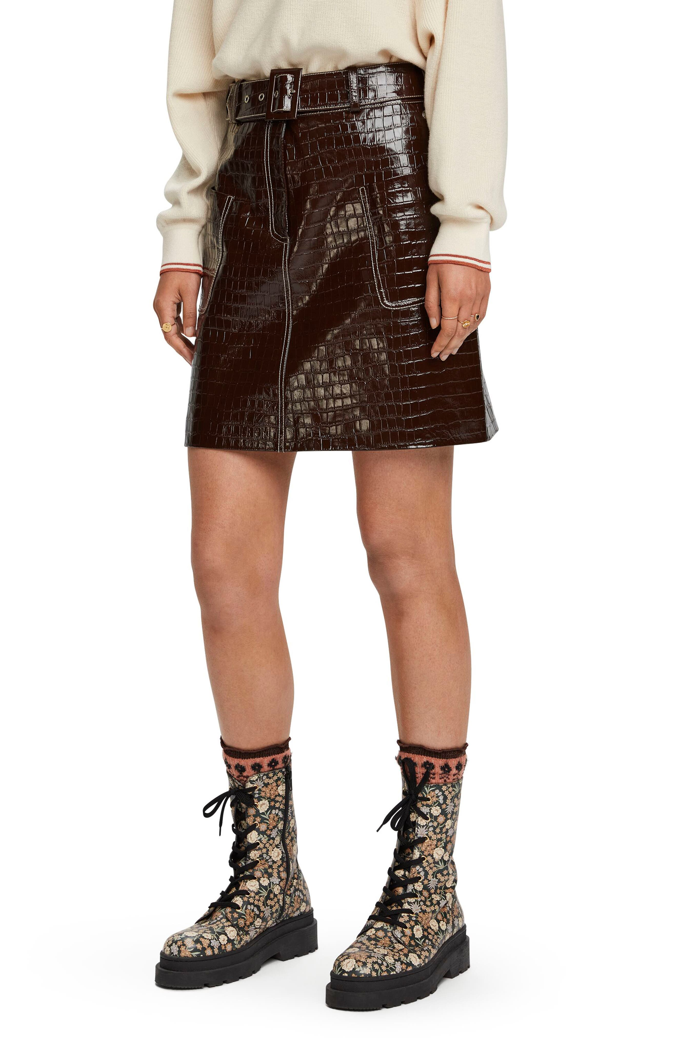 Scotch & Soda Croc Effect A-Line Skirt | Nordstrom