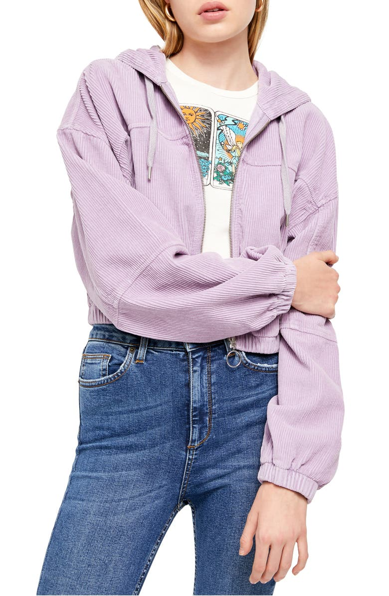 BDG URBAN OUTFITTERS Corduroy Crop Hooded Jacket, Main, color, LILAC