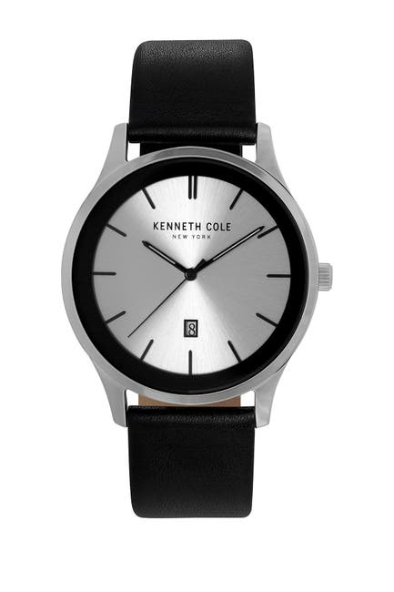Image of Kenneth Cole New York Men's 3 Hand Leather Strap Watch, 44x52.5mm