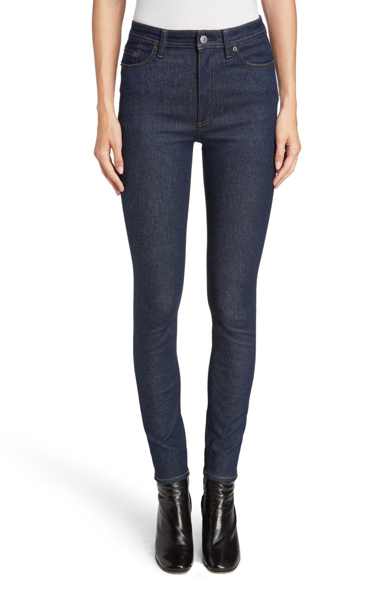 ACNE STUDIOS Peg High Waist Skinny Jeans, Main, color, INDIGO