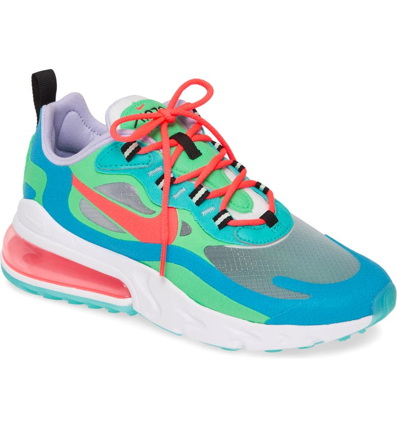 NIKE Air Max 270 React Sneaker, Main, color, BLUE/ ELECTRIC GREEN