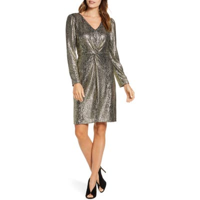 Julia Jordan Metallic Snakeskin Print Long Sleeve Dress, Metallic