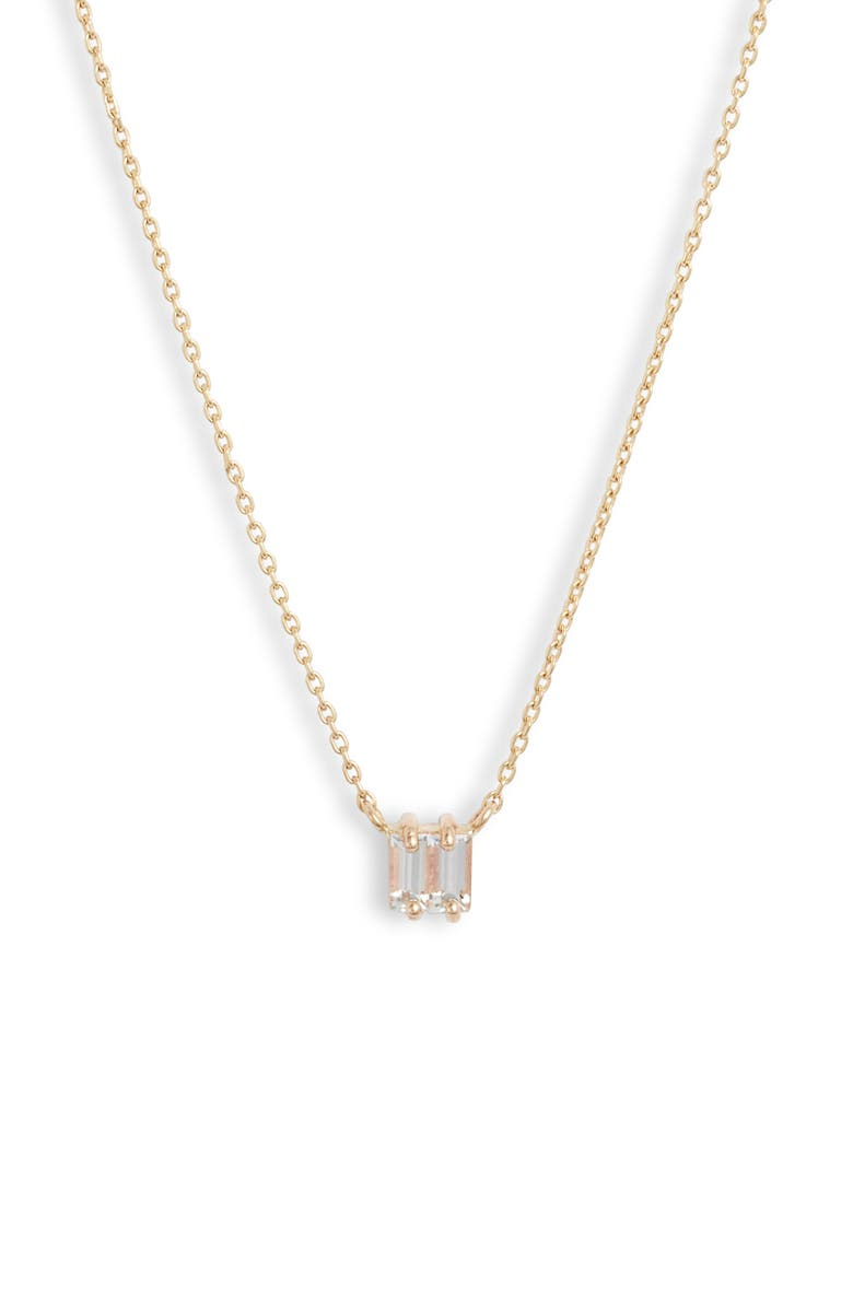 POPPY FINCH White Sapphire Double Baguette Necklace, Main, color, WHITE SAPPHIRE/ YELLOW GOLD