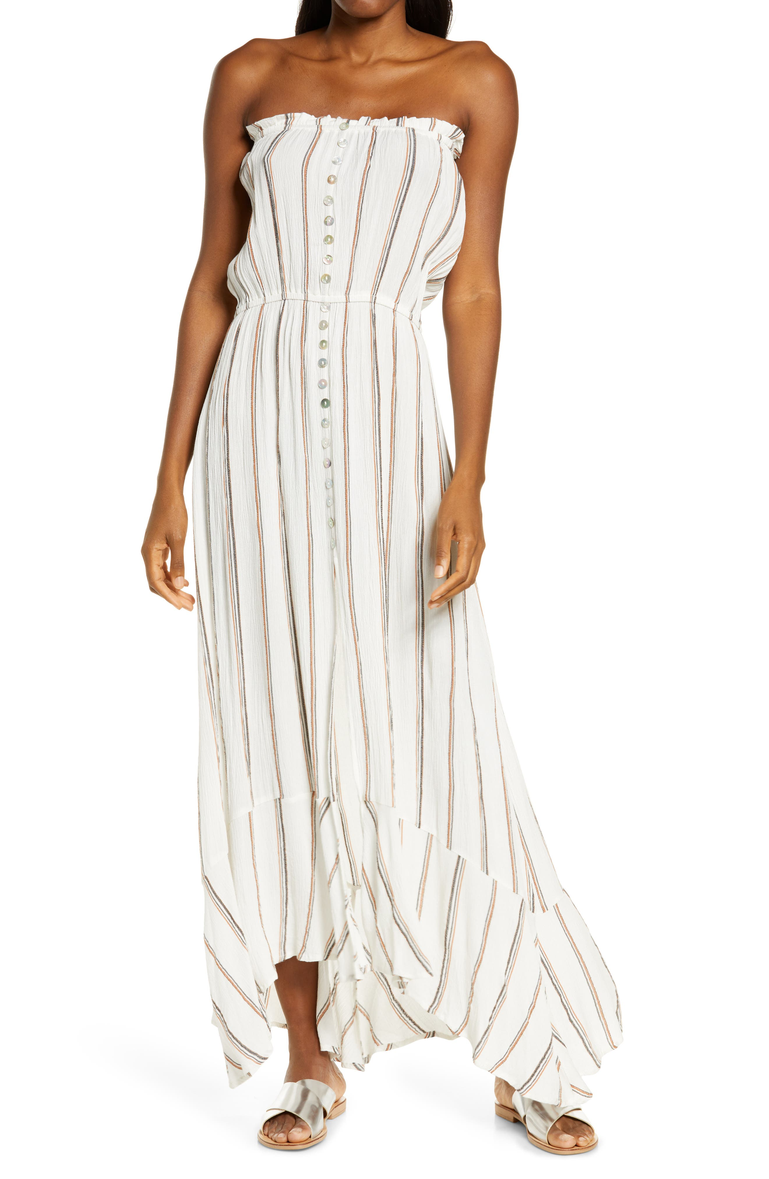 Strapless Stripe Maxi Cover-Up Dress