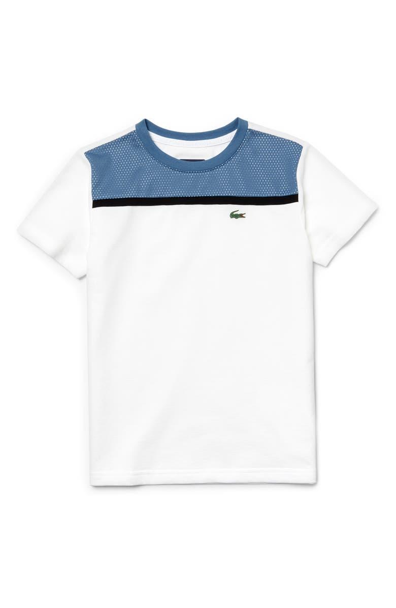 LACOSTE Colorblock T-Shirt, Main, color, WHITE/ NEOTTIA/ BLACK