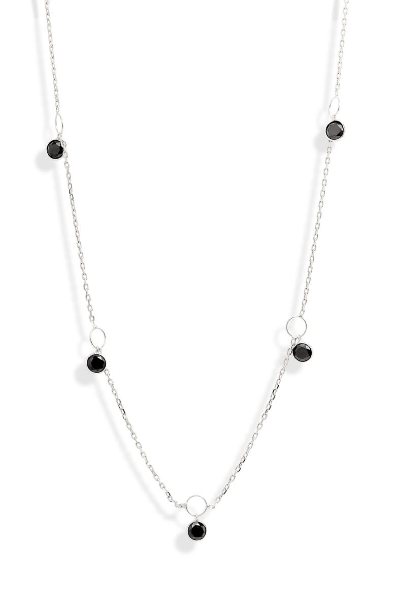 KAREN LONDON Hey Hey Drop Charm Necklace, Main, color, BLACK/ SILVER